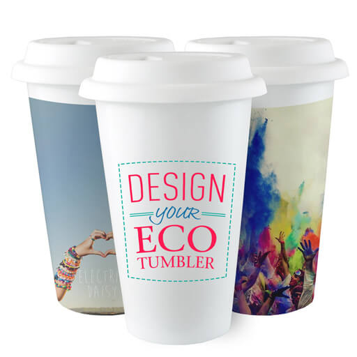 reduce your carbon footprint with this ecofriendly ceramic travel mug the white surface produces excellent fullcolor on photos logos