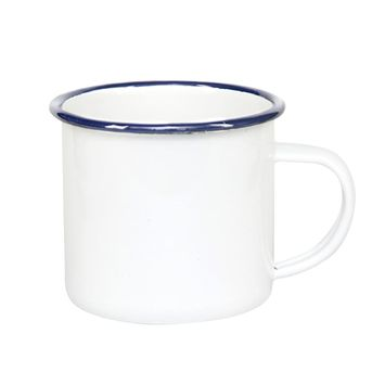 12 oz Enamel Coffee Mug (Blue Rim)