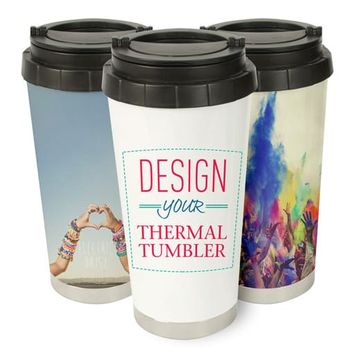 16 oz On-The-Go Stainless Steel Double-Wall Travel Tumbler (White)