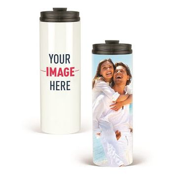 16 oz Stainless Steel Double-Wall Travel Tumbler with Lid (White)