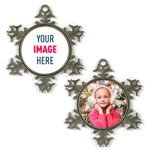 """Customized 3"""" Pewter Snowflake Ornament"""