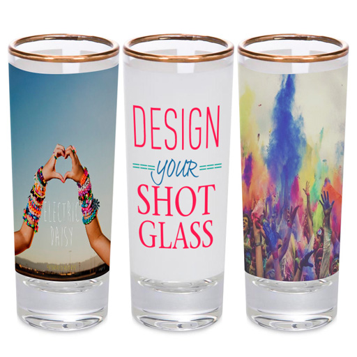 2.0 oz Gold Rim Shot Glasses